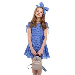 Vestido Infantil Manga Copinho E Barra Pregueada Com Cinto Rolitê Ponteiras De Coração Azul
