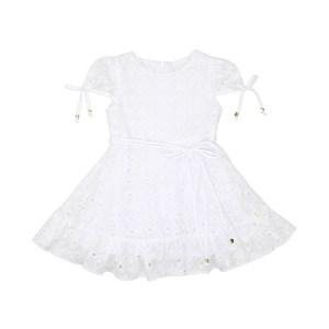 Vestido Infantil Manga Copinho E Barra Pregueada Com Cinto Rolitê Ponteiras De Coração Branco