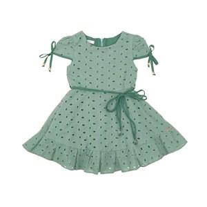 Vestido Infantil Manga Copinho E Barra Pregueada Com Cinto Rolitê Ponteiras De Coração Verde
