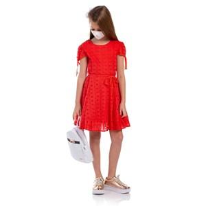 Vestido Infantil Manga Copinho E Barra Pregueada Com Cinto Rolitê Ponteiras De Coração Vermelho