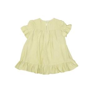 Vestido Infantil Mangas Franzidas Com Babado Amarelo Limao