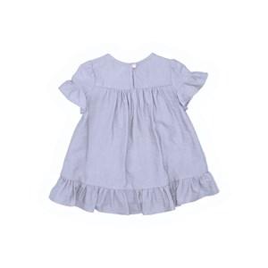 Vestido Infantil Mangas Franzidas Com Babado Azul