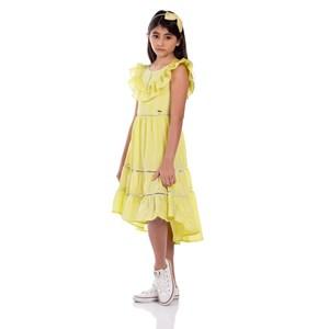 Vestido infantil mullet com babados Amarelo Canário