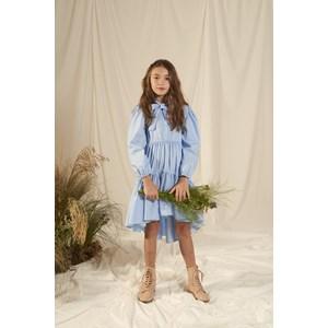Vestido infantil mullet com manga bufante botoes de perola e laço na gola Azul Claro
