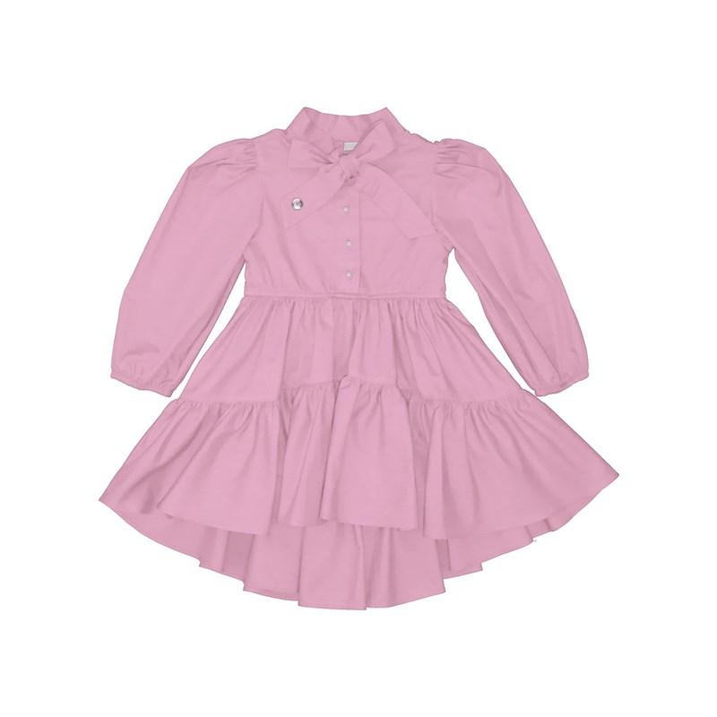 Vestido infantil mullet com manga bufante botoes de perola e laço na gola Rosa Claro