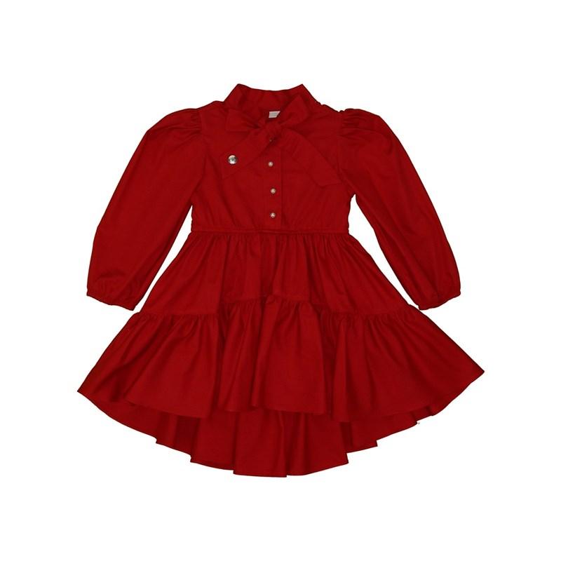 Vestido infantil mullet com manga bufante botoes de perola e laço na gola Vermelho