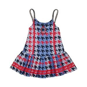 Vestido infantil pied de poule com alcinha em cordao Marinho