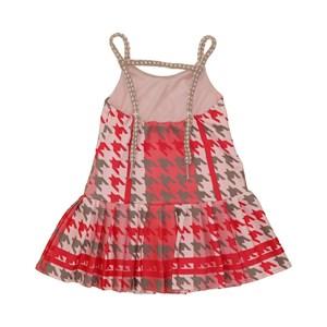 Vestido infantil pied de poule com alcinha em cordao Vermelho