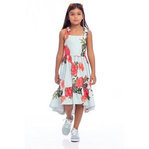Vestido Infantil Saia Mullet Franzida Com Alças Transpassadas Nas Costas Verde