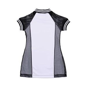 Vestido Infantil / Teen Em Neoprene Creponado Com Tela Quadriculada - Twoin Preto