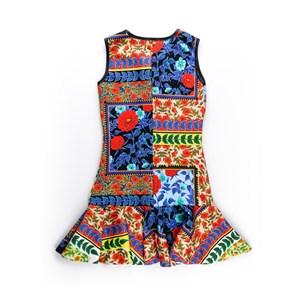 Vestido Infantil / Teen Em Neoprene Estampado - Twoin Laranja Escuro