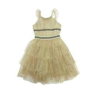 Vestido Infantil / Teen Em Tule Bege Com Bolinhas E Em Foil Dourado E Organza Engomada - Twoin Bege Claro