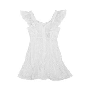 Vestido Infantil / Teen Em Tule Liso Com Renda De Algodão E Helanquinha Para Forro - Twoin Branco