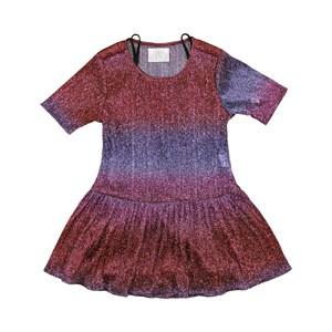 Vestido Infantil / Teen Em Tule Preto Com Lurex E Helanquinha Para Forro - Twoin Lilas
