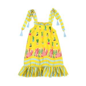 Vestido Infantil Trapézio Com Alcinhas Com Pingente Chuveirinhos Amarelo Canario