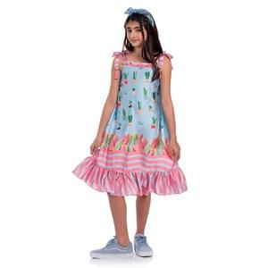 Vestido Infantil Trapézio Com Alcinhas Com Pingente Chuveirinhos Azul Claro