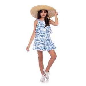 Vestido Infantil Trapézio Com Babado Lateral Azul