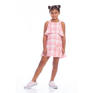 Vestido Infantil Trapézio Com Babado Lateral Rosa Claro