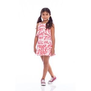 Vestido Infantil Trapézio Com Babado Lateral Vermelho