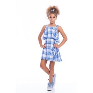 Vestido Infantil Trapézio Com Babado Lateral Xadrez Azul