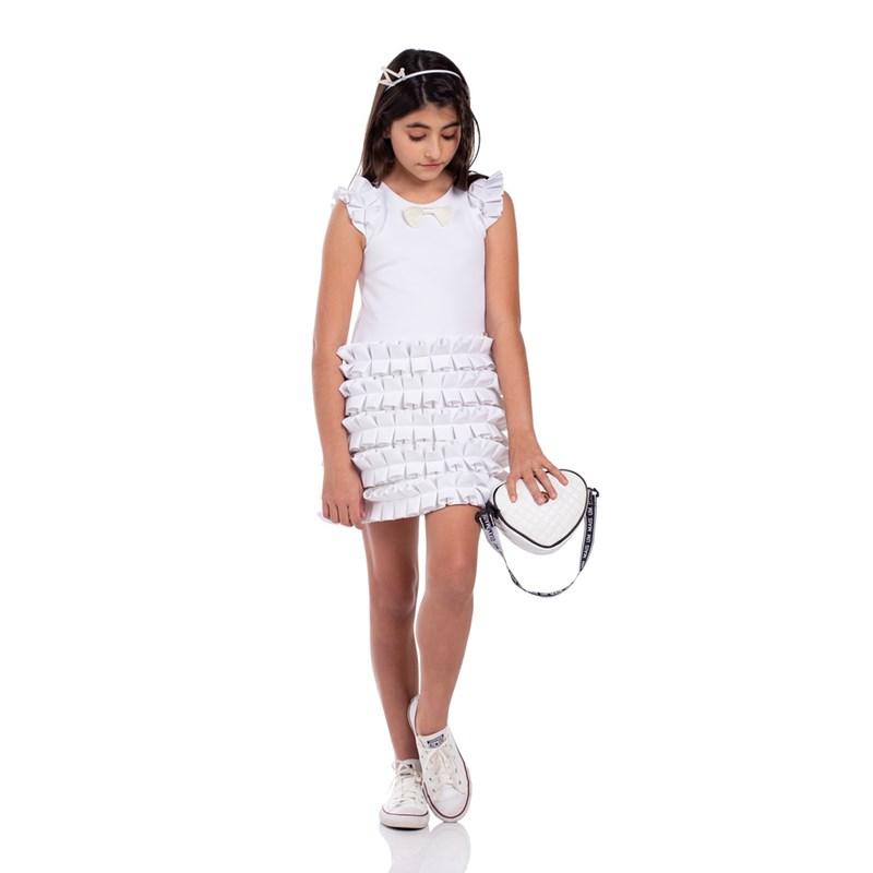 Vestido Infantil Tubinho Com Babados Branco