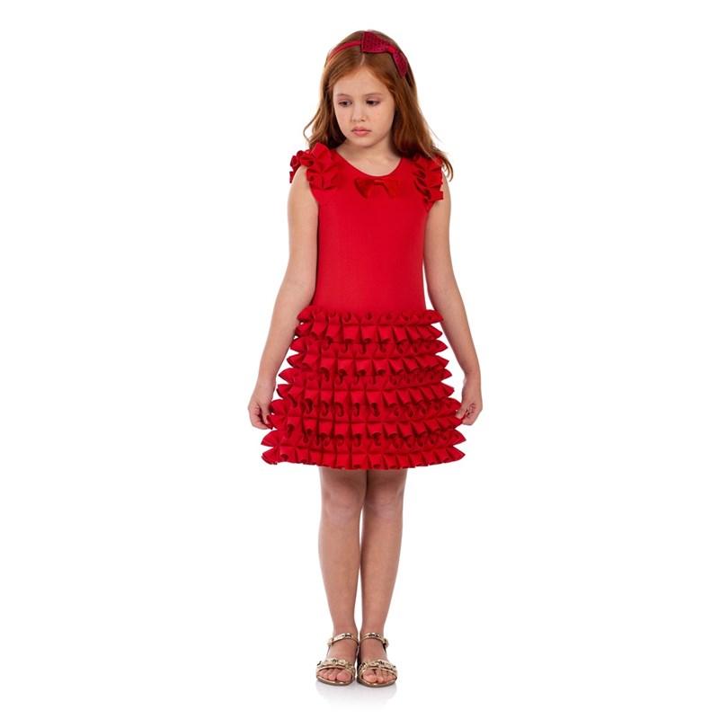 Vestido Infantil Tubinho Com Babados Vermelho
