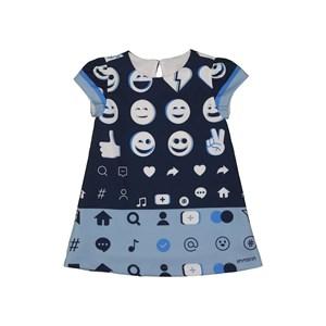 Vestido infantil tubinho estampa de emojis Marinho
