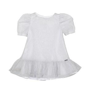 Vestido Lurex Infantil Manga Bufante Com Barrado Franzido Prata