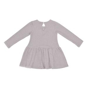 Vestido Manga Longa Infantil / Kids Em Suedine Com Listrinhas - Beabá Cinza Claro