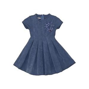 Vestido neoprene com pregas e aplique de flor Azul Claro