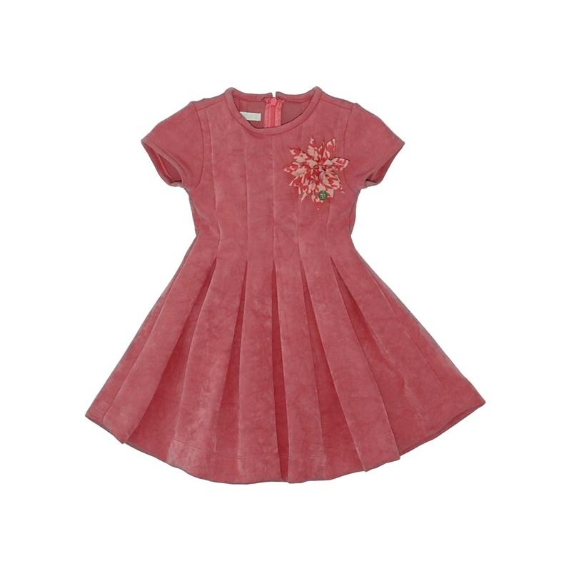 Vestido neoprene com pregas e aplique de flor Vermelho