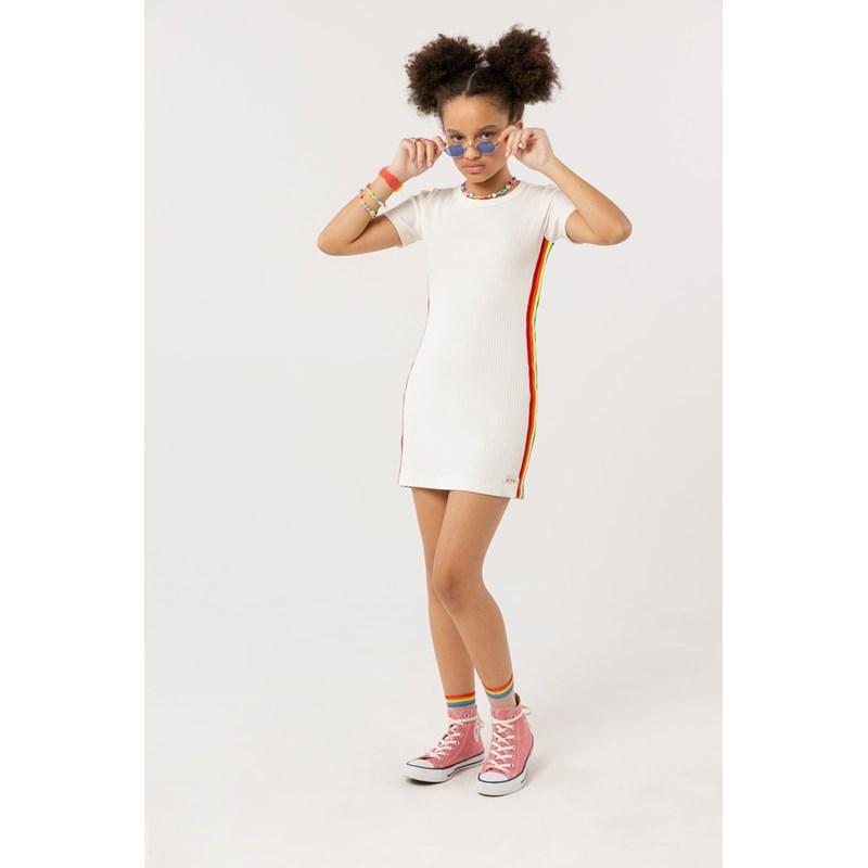 Vestido teen em malha canelada com detalhe lateral arco iris OFF WHITE