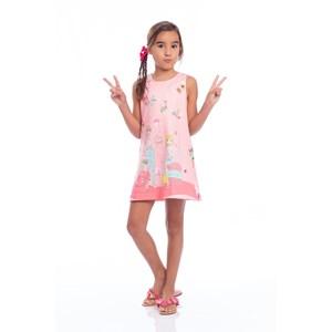 Vestido Tubinho Infantil Com Estampa Rosa Claro