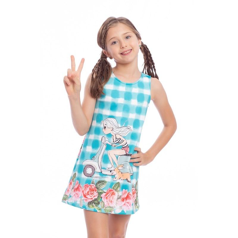 Vestido Tubinho Infantil Com Estampa Verde Agua