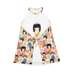 Vestido Tubinho Infantil Estilo Kimono Cru