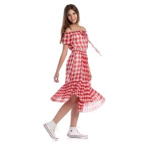 Vestido Xadrez Ciganinha Mangas Bufantes Barra Plissada Vermelho